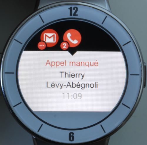 Alcatel OneTouch Watch (appel manqué)