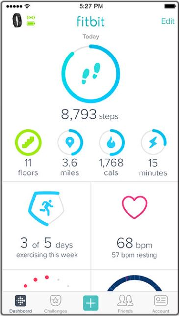 L'application Fitbit (vue globale)