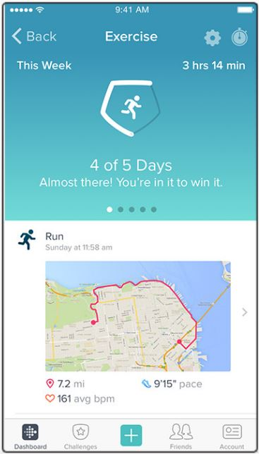 L'application Fitbit (trajets...)