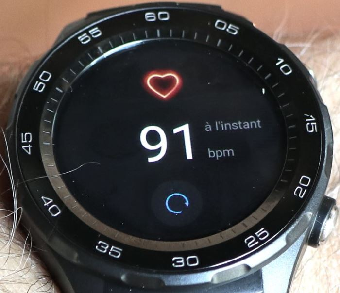 Huawei Watch 2 (mesure de la frésuence cardiaque)