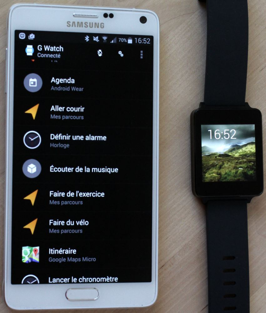 LG G-Watch et Galaxy Note 4
