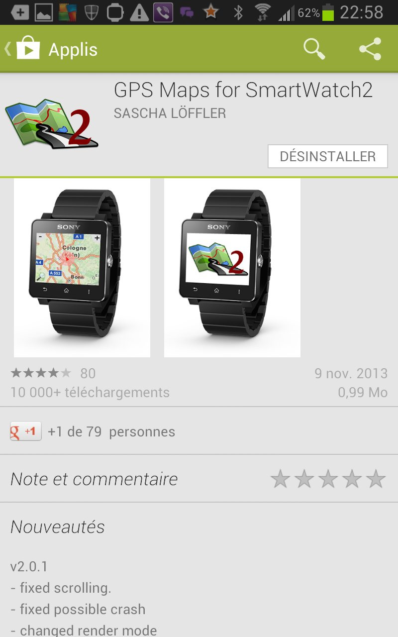 GPS smartwatch 2 sur Galaxy Note