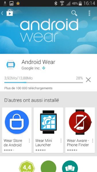 Installation d'Android Wear